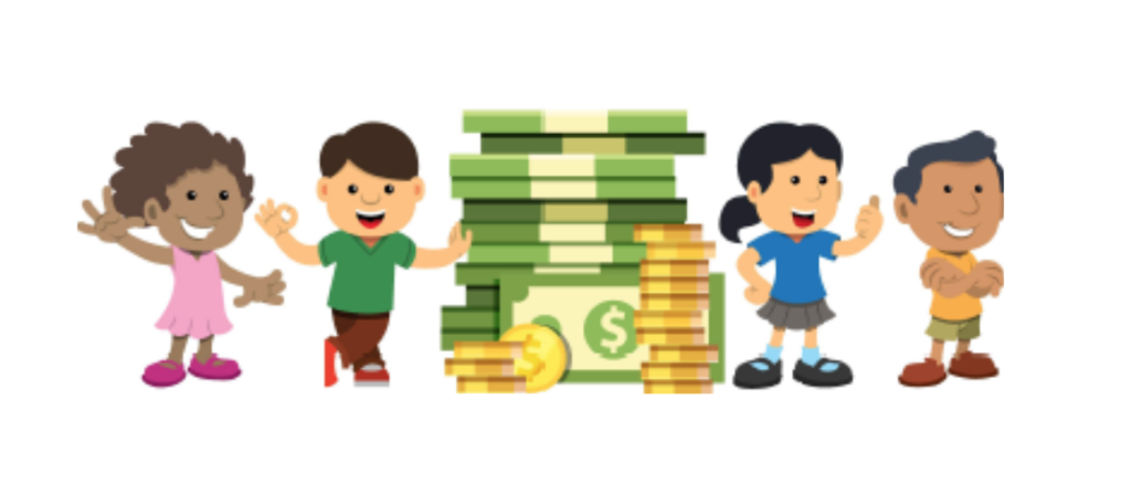 Kids standing next to pile of money - Illustration